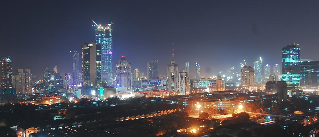 View of the Mumbai skyline at night