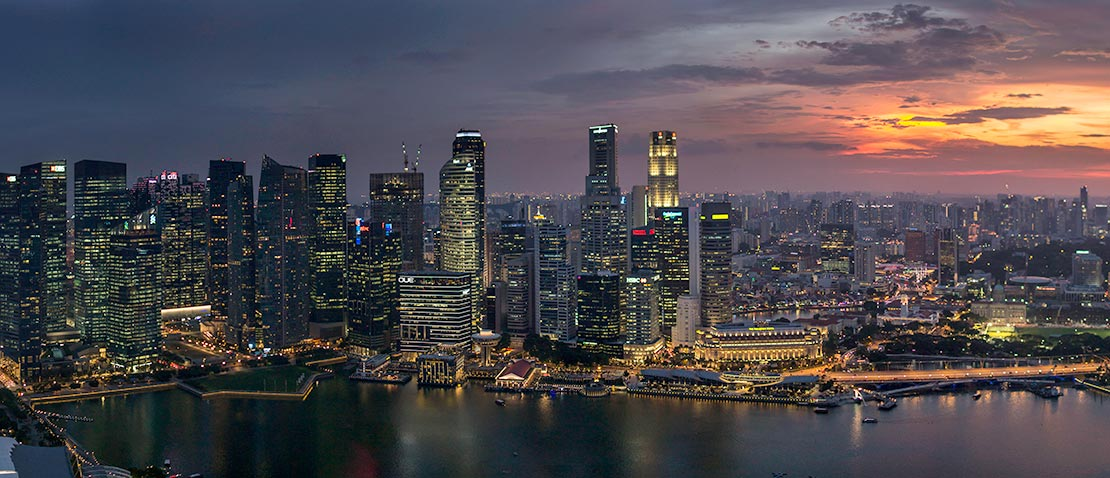 View of the Singapore skyline at sunset
