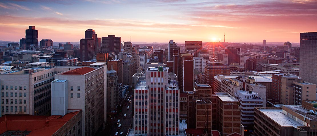 View of the Johannesburg skyline at sunrise