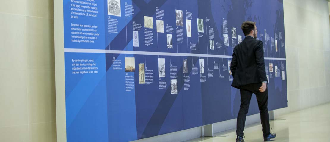 Slider image 5 of 6, Bank heritage wall in the London office