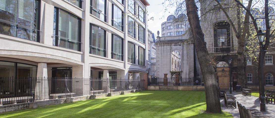 In the courtyard outside the London office